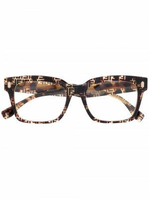 Очки с монограммой Fendi Eyewear. Цвет: коричневый