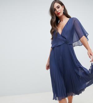 Платье миди с рукавами клеш и плиссированной юбкой ASOS DESIGN Tall-Синий Tall
