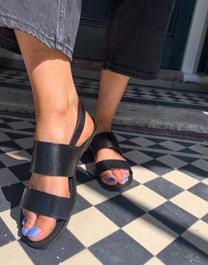 Черные кожаные сандалии с двумя ремешками Tia-Черный цвет Vagabond