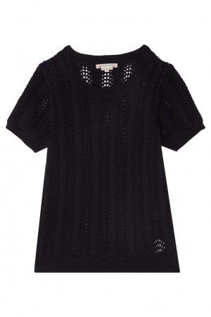 Черный вязаный пуловер Bonpoint. Цвет: черный