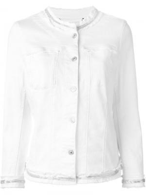 Джинсовая куртка с декорированной окантовкой 7 For All Mankind. Цвет: белый