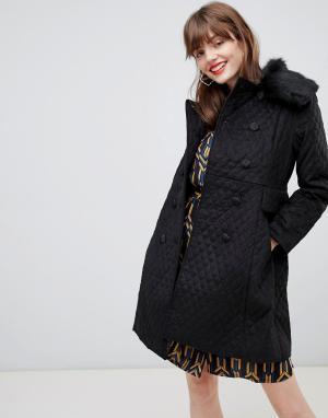 Двубортное пальто с подкладкой из искусственного меха Darling. Цвет: черный