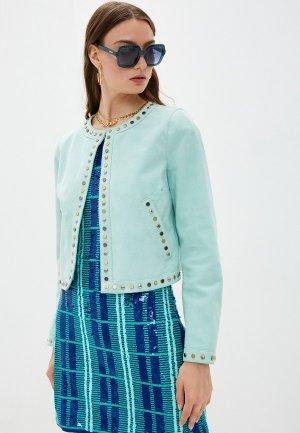 Куртка кожаная Just Cavalli. Цвет: бирюзовый