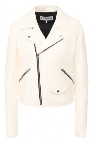 Кожаная куртка Loewe. Цвет: белый