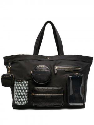 Сумка-тоут с карманом Anya Hindmarch. Цвет: черный