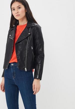 Куртка кожаная Topshop TO029EWBAKC5. Цвет: черный