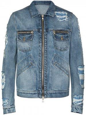 Джинсовая куртка на молнии с монограммой Balmain. Цвет: синий