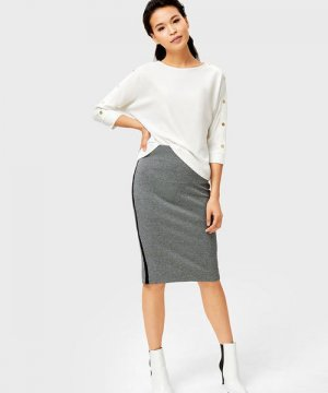 Трикотажная юбка миди с лампасами O`Stin. Цвет: серый
