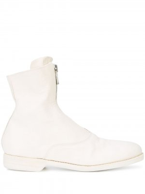Front-zipped fitted boots Guidi. Цвет: белый