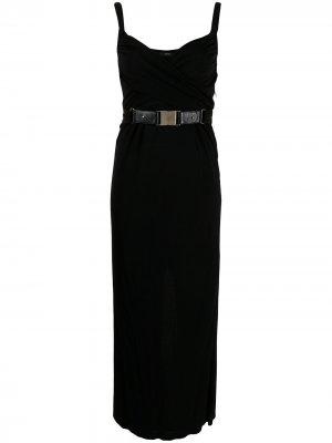Длинное платье с драпировкой Gucci Pre-Owned. Цвет: черный