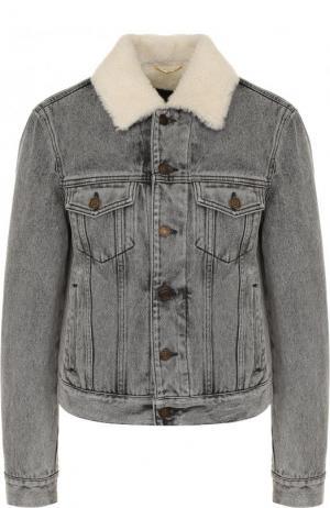 Джинсовая куртка с потертостями и подкладкой из овчины Saint Laurent. Цвет: серый