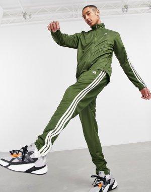 Спортивный костюм цвета хаки с тремя полосками adidas Training Tiro-Зеленый цвет performance