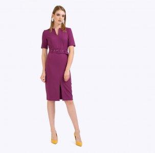 Платье приталенного кроя с поясом EMKA