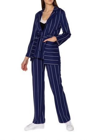 Костюм: жакет, брюки Adzhedo. Цвет: синий, полоса