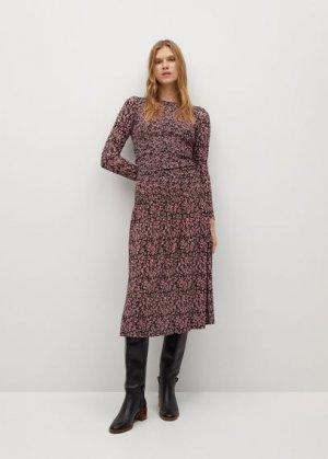 Платье с цветочным принтом и воланом - Rolo Mango. Цвет: земляничный