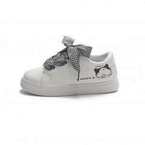 Спортивные туфли в клетку с шнурками и принтом кота SHEIN. Цвет: белые