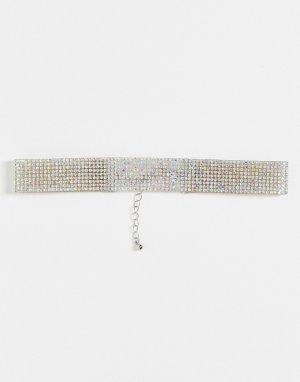 Серебристое ожерелье-чокер со стразами ASOS-Серебристый Topshop