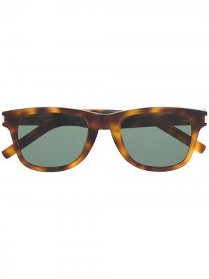 Солнцезащитные очки в круглой оправе Saint Laurent Eyewear. Цвет: зеленый