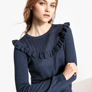 Пуловер с круглым вырезом и воланом из ажурного тонкого трикотажа LA REDOUTE COLLECTIONS. Цвет: розовый