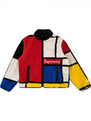 Двусторонняя куртка в стиле колор-блок Supreme. Цвет: красный