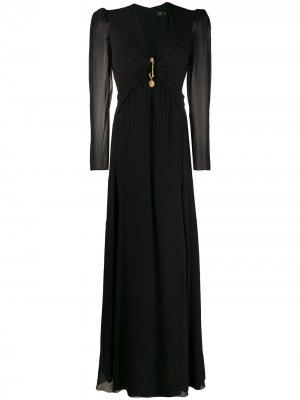 Длинное платье с драпировкой и декоративной булавкой Versace. Цвет: черный