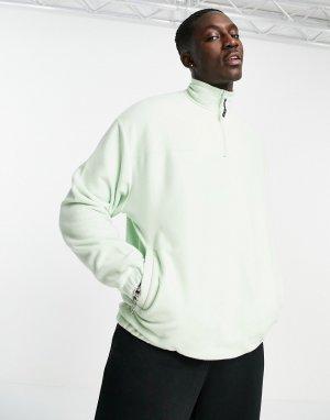 Пастельно-зеленый флисовый свитшот в стиле oversized с короткой молнией -Зеленый цвет ASOS DESIGN