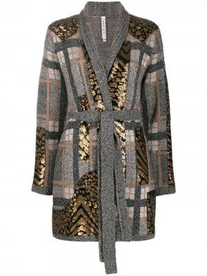 Пальто-кардиган с геометричным узором Antonio Marras. Цвет: серый