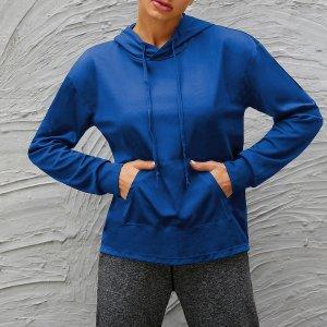 Спортивная толстовка на кулиске с карманом SHEIN. Цвет: синий
