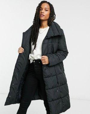 Удлиненная дутая куртка черного цвета с большим воротником . Salina-Черный Y.A.S