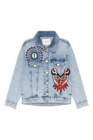 Джинсовая куртка с вышивкой Maje. Цвет: голубой