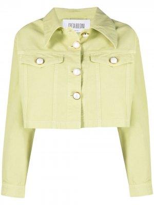 Укороченная джинсовая куртка GRETA BOLDINI. Цвет: зеленый