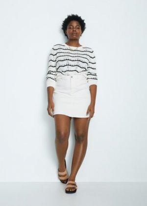 Джинсовая мини-юбка - Alba Mango. Цвет: белый