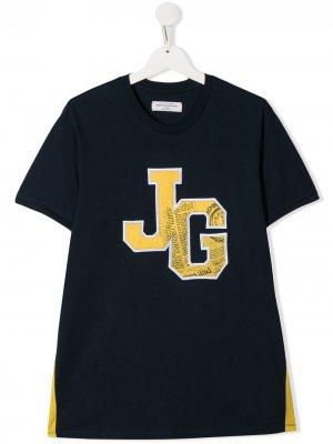 Футболка с логотипом John Galliano Kids. Цвет: синий
