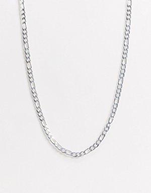 Серебристая цепочка плетения фигаро -Серебряный ASOS DESIGN