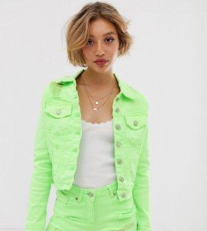 Неоново-зеленая джинсовая куртка -Зеленый Parisian Petite