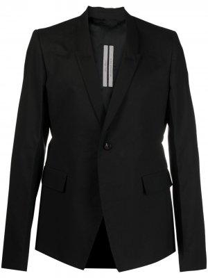 Однобортный пиджак из органического хлопка Rick Owens. Цвет: черный