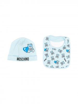 Комплект из шапки и нагрудника с принтом Teddy Bear Moschino Kids. Цвет: синий