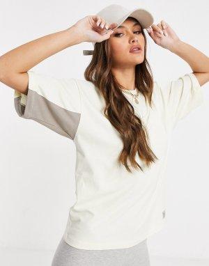 Кремовая футболка в стиле oversized -Белый Hummel