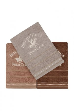 Hand Towel Set, 3 Pieces Beverly Hills Polo Club. Цвет: brown