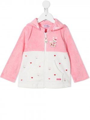 Bunny embroidered zip-up jacket Miki House. Цвет: розовый
