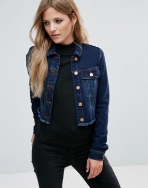Укороченная джинсовая куртка с необработанным краем Noisy May. Цвет: синий