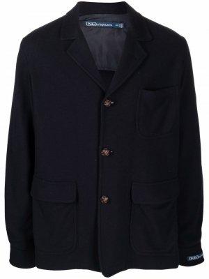 Шерстяной однобортный пиджак Polo Ralph Lauren. Цвет: синий