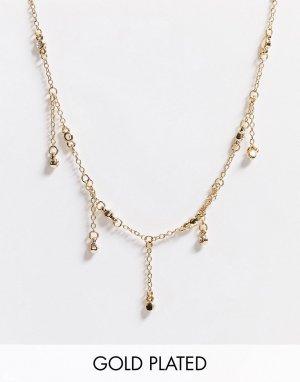 Позолоченное ожерелье-чокер с камнями -Золотой Saint Lola