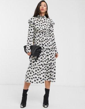 Ярусное платье мидакси с оборками и цветочным принтом -Кремовый Glamorous