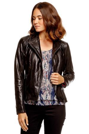 Кожаная куртка POLO TEAM 372193300732999 TOM TAILOR. Цвет: черный