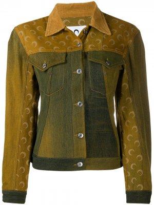 Джинсовая куртка с принтом Marine Serre. Цвет: желтый