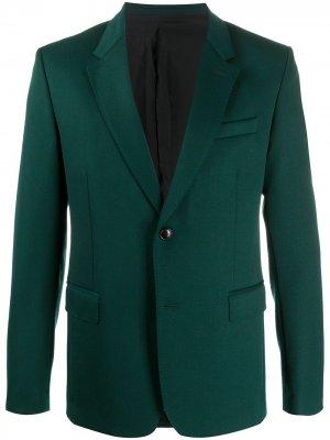 Однобортный пиджак с подкладкой AMI Paris. Цвет: зеленый