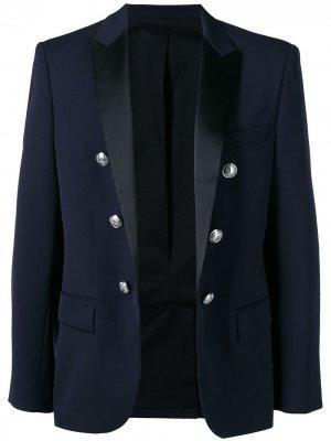 Двубортный костюмный пиджак Balmain. Цвет: синий