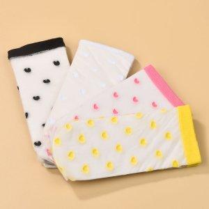 Для девочек 4 пары Носки до середины голени с принтом сердечка SHEIN. Цвет: многоцветный