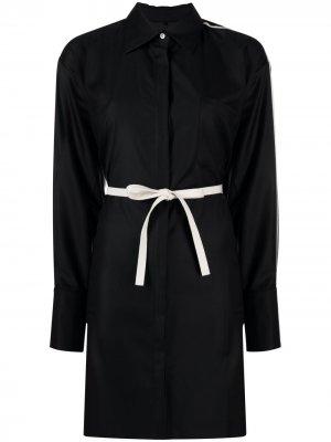 Платье-рубашка с длинными рукавами и потайной застежкой Peter Do. Цвет: черный